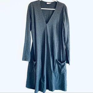 eShakti Gray Long Sleeve Lagenlook Midi Dress